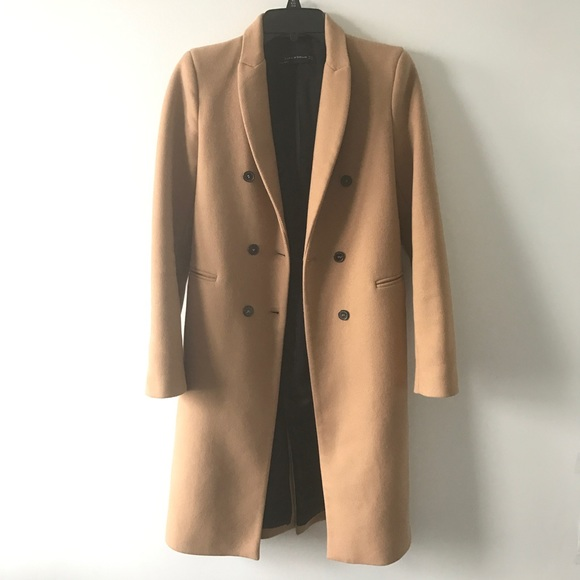 125451dc Zara Camel Beige Knee Length Wool Coat XS Jacket